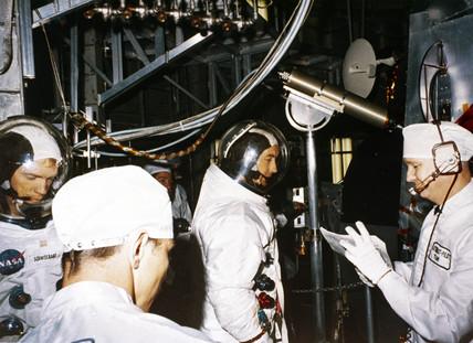 Apollo 9 astronauts Rusell Schweickart and David Scott, 1969.