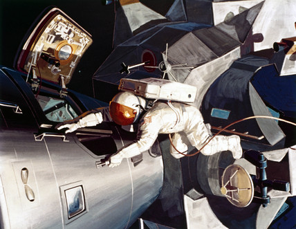 Artist's impresion of an astronaut on EVA (Extra-Vehicular Activity), 1968.