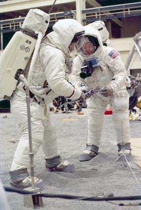 Apollo 11 astronauts Neil Armstrong and Edwin 'Buzz' Aldrin, 1969.