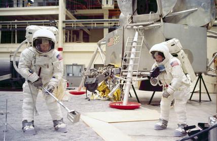 Apollo 11 astronauts Edwin Aldrin and Neil Armstrong, 1969.