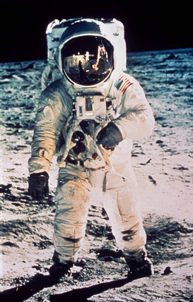 Edwin 'Buzz' Aldrin on the Moon, 1969.