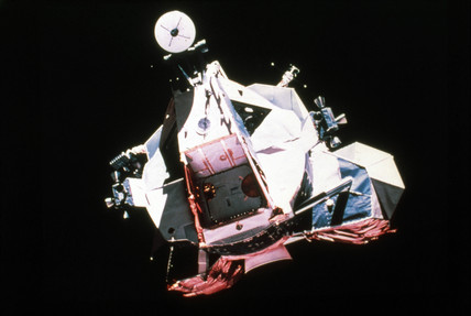 Apollo 17 Lunar Module after lift-off from the Moon, 1972.