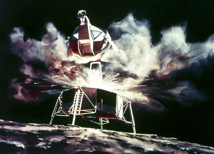 Artist's impresion of the Lunar Module blasting off from the Moon, 1968.