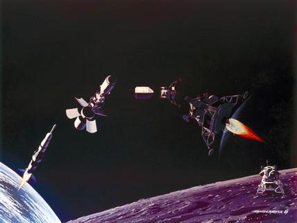 Artist's depiction of the main Apollo Moon landing manoeuvres, 1969.