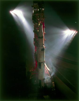 Saturn V rocket under floodlights, 1969.