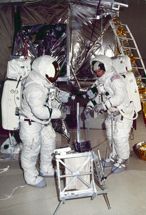 Apollo 13 astronauts James Lovell and Fred Haise during training, 1970.