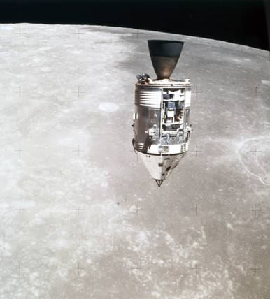 Apollo 15 Command and Service Module in lunar orbit, August 1971.