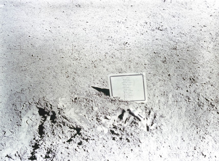 Plaque left on the moon by the Apollo 15 astronauts, August 1971.
