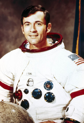 Apollo 16 astronaut John Young in spacesuit, 1971.