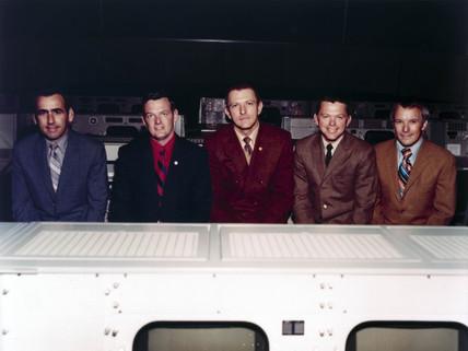 The five flight directors of the NASA Apollo programme, 1971.