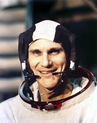 Apollo 16 astronaut Thomas Mattingly in spacesuit, 1971.