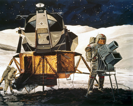 Artist's impresion of Apollo 16 experiments on the Moon, 1972.