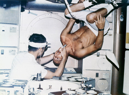 Oral inspection aboard Skylab, 1973.