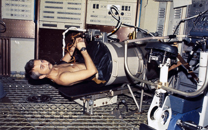 Astronaut Owen Garriott in a Lower Body Negative Presure Device, 1973.