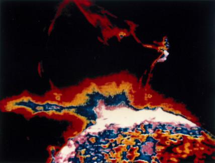 Solar flare eruption in extreme ultraviolet light, photographed from Skylab, 1973.