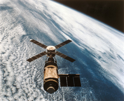 The Skylab space station in orbit, 1974.