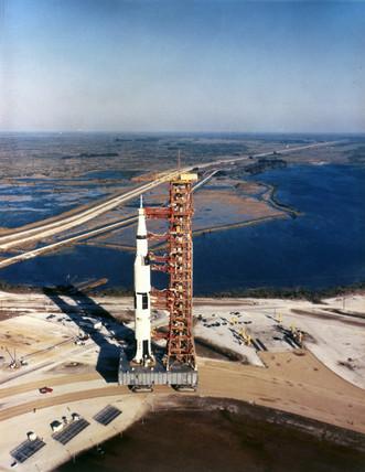 Saturn V rocket on transporter, 1967.