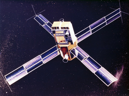 Artist's impresion of the Small Astronomical Satellite (SAS) 3, 1975.