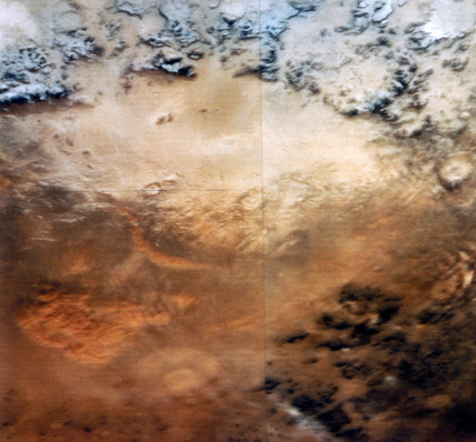 View of  the surface of Mars, from the Viking 2 Orbiter, 1976.