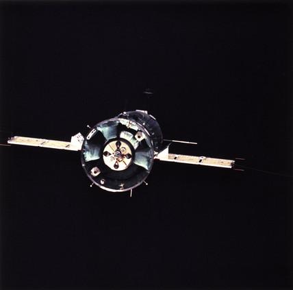 The Soviet Soyuz 19 spacecraft in orbit, Apollo/Soyuz Project, 1975.