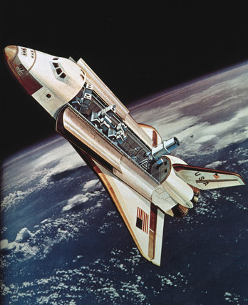 Artist's Impresion of the Space Shuttle Orbiter in space, 1976.