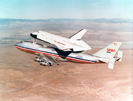 Shuttle Orbiter mounted a Boeing 747, 1977.