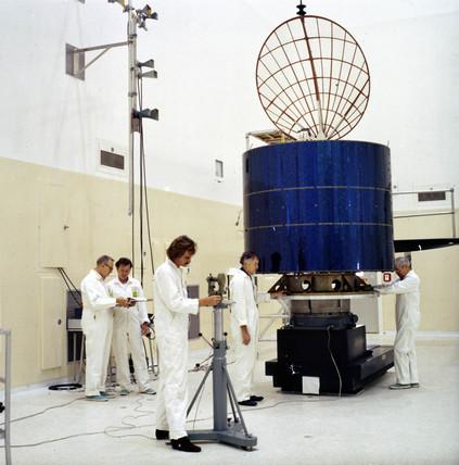 Indonesian Palapa B communications satellite, 1977.