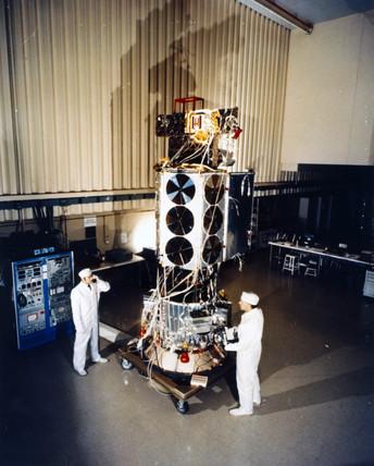 TIROS N meteorological satellite undergoing ground tests, 1978.