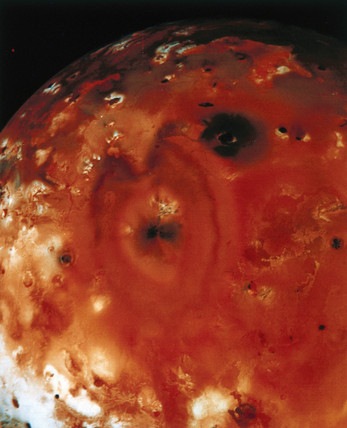 Close up view of Io, one of the moons of Jupiter, 1979.