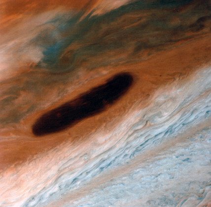 Dark brown spot on Jupiter, photographed by Voyager 1, 1979.