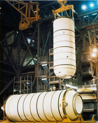 Bottom portion of Space Shuttle solid fuel boosters, 1979.