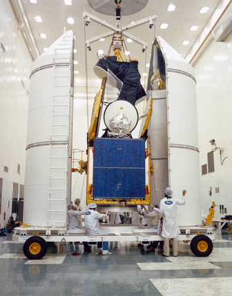 An Intelsat 5 communications satellite, 1980.