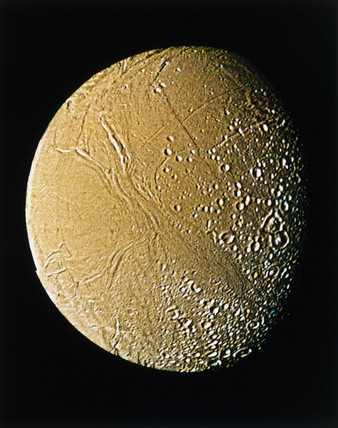 Enceladus, one of the moons of Saturn, photographed by Voyager 2, 1981.