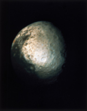 Iapetus, one of the moons of Saturn, photographed by Voyager 2, 1981.