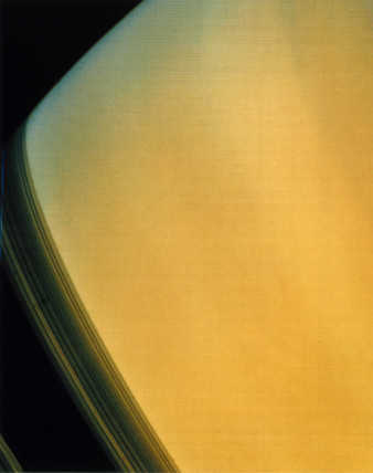 Close up of Saturn, photographed by Voyager 2, 1981.