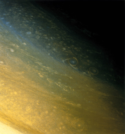 The North Polar region of Saturn, photographed by Voyager 2, 1981.