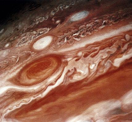 Close up of the Red Spot on Jupiter, photographed by  Voyager 2, 1979.