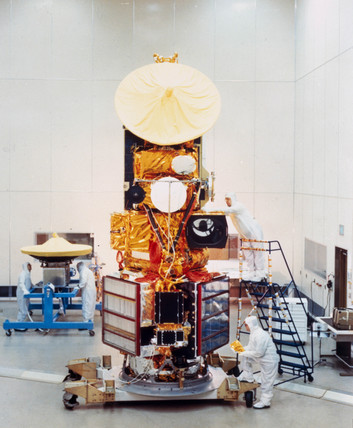 The Landsat D satellite before launch, 1982.