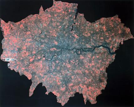 Composite Landsat false colour image of Greater London, 1979.
