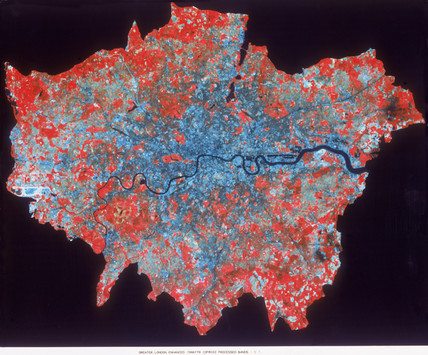 Composite Landsat false colour image of Greater London, 1979.