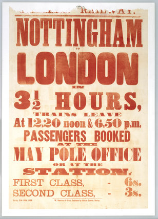 Handbill advertising the Nottingham-London route, 1856.
