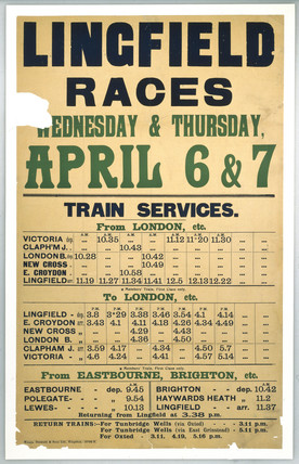 Handbill - 'Lingfield Races', showing the timetable for the trains to Lingfield.