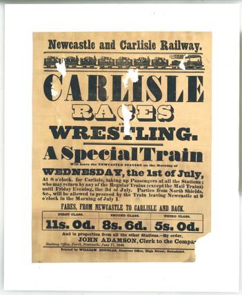 Newcastle & Carlisle Railway handbill. 'Carlisle Races', 1 July 1846.