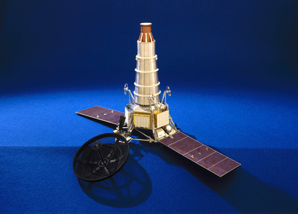 Ranger spacecraft with solar panels extended, 1964-1965.