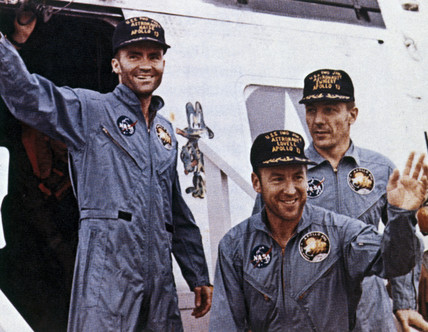 Apollo 13 astronauts after rescue, 1970.