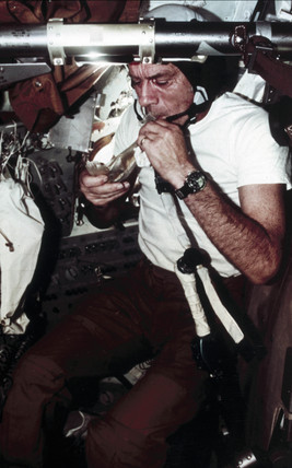 Donald Slayton eating during the Apollo/Soyuz Project, 1975.
