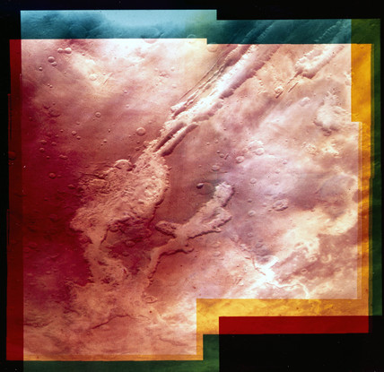 Part of the Valles Marineris, the Martian 'Grand Canyon', 1976.
