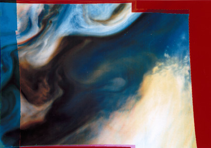 Close up of the clouds on Jupiter, 1979.