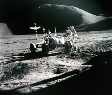 Apollo 15 astronaut James Irwin, with the Lunar Rover, 1971.
