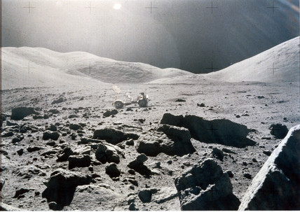 Panoramic view of the Lunar surface, Apollo 15, 1971.